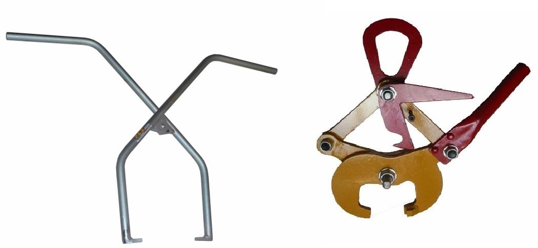 Pinza manuale presa traverse in c.a.p. e pinza aggangio rotaie con sicurezza PR 15